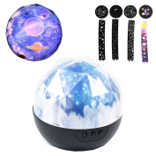 Colour Universe Rotation Night Projection LED Night Lamp,Five Pattern Transformation Sleep Light,Starlight Powered by Battery or USB Cable