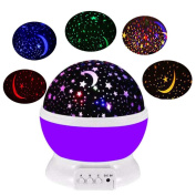 Night Lights for Children Birthday and Christmas Gifts,Rotation Night Projection LED Night Lamp,Four Colour Transformation Sleep Light,Starlight Powered by Battery or USB Cable-Purple