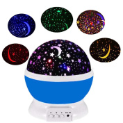 Night Lights for Children Birthday and Christmas Gifts,Rotation Night Projection LED Night Lamp,Four Colour Transformation Sleep Light,Starlight Powered by Battery or USB Cable-Blue