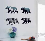 BIBITIME Snow Mountain Forest Tree Polar Bear Silhouette Sticker Animal Wall Decal for Living Room Porch Children Bedroom Study Classroom Nursery Kids Room Decor