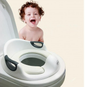 Babyhomey Baby Toddler Potty Training Seat with Cushion and Handle Non Slip Toilet Seat Trainer for Boys and Girls 1-7 Year -White Colour