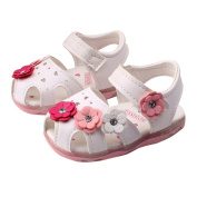 Toddler Baby Girls Flowers Lighted Sandals Lighted Soft-Soled Princess Baby Shoes