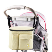 JDWNF Insulated Baby Stroller Organiser for Moms, Durable Stroller Travel bags fits all Strollers, Zip off Pouch, Removable Shoulder Strap, Deep Cup Holders, Mesh Bag for Extra Storage