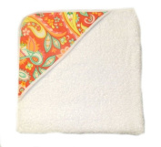 aBaby Infant Hooded Towel, Coral Paisley