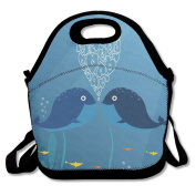 BRANDON Day Whale Lovers Boys Girls Insulated Polyester Fibre Lunch Box Bag Lunch Tote Handbag Lunchbox Food Container Gourmet Tote Cooler Warm Pouch For School Work Office Picnic Travel