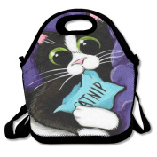 BRANDON Day Cute Cat Boys Girls Insulated Polyester Fibre Lunch Box Bag Lunch Tote Handbag Lunchbox Food Container Gourmet Tote Cooler Warm Pouch For School Work Office Picnic Travel