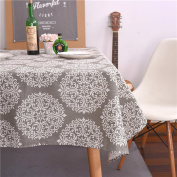 ColorBird Grey Medallion Tablecloth Cotton Linen Dust-proof Table Cover for Kitchen Dinning Tabletop Linen Decor