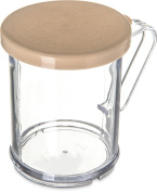 Carlisle 427006 Polycarbonate Salt and Pepper Shaker/Dredge with Beige Lid, 1 Cup Capacity, Clear