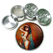 """Egyptian Pin Up Girls Egypt S8 Chrome Silver 2.5"""" Aluminium Magnetic Metal Herb Grinder 4 Piece Hand Muller Herb & Spice Heavy Duty 63mm"""