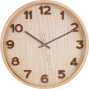 Large Decorative Wooden Wall Clock - Light - Universal Non-Ticking & Silent 33cm Wall Clock - by Utopia Home