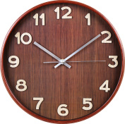 Large Decorative Wooden Wall Clock - Dark - Universal Non-Ticking & Silent 33cm Wall Clock - by Utopia Home