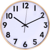 Large Decorative Wooden Wall Clock - Universal Non - Ticking & Silent 33cm Wall Clock - by Utopia Home