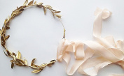 DECORA 36 Yards Artificial Gold Leaf Ribbon Trim for Wreath Making Gift Wraping Wedding Decoration