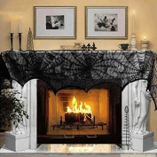 Halloween Cobweb Fireplace Scarf Lace Spiderweb Mantle Cover Christmas Party Decoration 46cm x 240cm