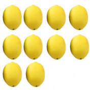 CosCosX 10 Pcs Fake Fruit Lemons Artificial Limes for Vase Filler Home House Kitchen Party Decoration Lifelike Simulation Lemon