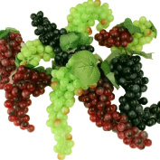 10 Pack- Artificial Plastic Fruit Grapes Cluster Home Office Decoration Green