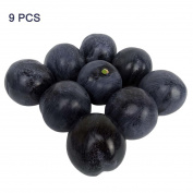 9pcs Artificial Lifelike Simulation Black Plum Fake Fruits Photography Props Model