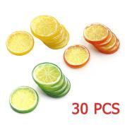 30pcs Fake Lemon Slice Garnish Artificial Fruit Faux Food House Bar Decoration Cocktail Party Arrangement