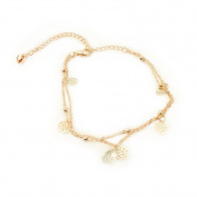 Vi.yo Anklet Hollow rose shape Beach Barefoot Foot Jewellery for Women Metal Alloy and Rhinestone
