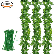 Ailiebhaus 12 Strands Artificial Greenery Ivy Fake Leaf Plants Hanging Vine Leaves Garland for Wedding Patio Garden Wall Party Decoration