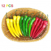 12 Pcs Artificial Chilli Peppers Simulation Fake Vegetable Photo Props Home Decoration Three-Colour