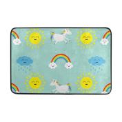 Aideess - Polyester Door Mats Outside Doormat, Unicorn Doormats for Entrance Way Outdoors 60cm x 40cm