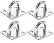 Homgaty 4Pcs 6mm 304 Stainless Steel Oblong Pad Eye Plate,Marine Hardware Staple Hook Loop