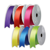 Jillson Roberts 6 Spool-Count All-Occasion 2.5cm x 3m Double Faced Satin Ribbon Solid Colour Assortment, Perfectly Primary