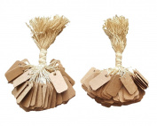 "200 Pcs of Kraft Paper String Tags, Price Tags, Elegant Jewellery String Tags perfect for Gifts or Business (1"" x 1/2"""