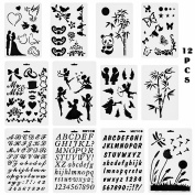 WXJ13 12 Pieces Bullet Journal Stencils Planner Stencils Letters Number for Planner/Notebook/Diary/Scrapbook DIY Drawing Template Stencil