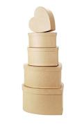 Value Pack Paper Mache Box Set - Heart - 8, 9, 10, 12, 36cm
