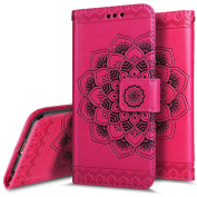 """iPhone 6 Case,iPhone 6S Wallet Case,PHEZEN Embossed Mandala Florals PU Leather 2 in 1 Magnetic Detachable Wallet Flip Case Cover Slim Back Cover Card Holder Wrist Strap for iPhone 6/6S 4.7"""", Hot Pink"""