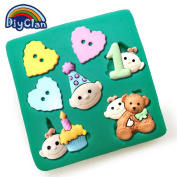 Diyclan magic bear heart button silicone moulds for cake decorating fondant mould chocolate soap mould cake tools baking F0522XC35