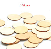 5.1cm Wooden Discs 100pcs Unfinished Round Wooden Circles Blank Wood Cutout Slices Discs DIY Crafts