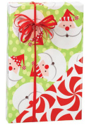 Reversible Santa Claus Peppermint Gift Wrap Wrapping Paper - 4.9m Roll