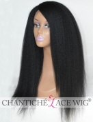 Chantiche Italian Yaki Lace Front Wig Human Hair with 2.5cm x 9.5cm Right Deep Part Brazilian Human Hair Wigs for Black Women 41cm Natural Colour
