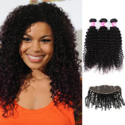 Forawme Soft Brazillian Virgin Hair Bundles With Frontal Closure 1B Black 5pcs Lot 12 14 16 18 With 25cm Middle Part Lace Frontal Closure With Bundles Unprocessed Afro Curly Human Hair Weave