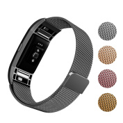Fitbit Charge 2 Band, Soulen Milanese Loop Stainless Steel Replacement Accessories Magnetic Metal Clasp Large Small Fitbit Charge 2 Wirstband