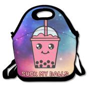 Suck My Balls Kawaii Bubble Tea Lunch Bag Tote Handbag Food Container Cooler Organiser For School Work Outdoor
