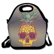 Hoeless Pineapple Fruit Glasses Insulated Lunch Bag With Zipper,Carry Handle And Shoulder Strap For Adults Or Kids Black