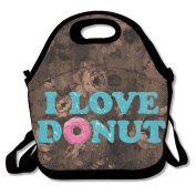 Hoeless I Love Donut Insulated Lunch Bag With Zipper,Carry Handle And Shoulder Strap For Adults Or Kids Black