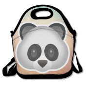Hoeless Panda Emoji Insulated Lunch Bag With Zipper,Carry Handle And Shoulder Strap For Adults Or Kids Black