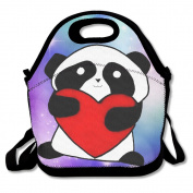 Hoeless I Love Panda Insulated Lunch Bag With Zipper,Carry Handle And Shoulder Strap For Adults Or Kids Black