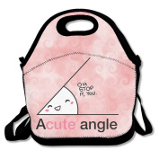 Hoeless Acute Angle Insulated Lunch Bag With Zipper,Carry Handle And Shoulder Strap For Adults Or Kids Black