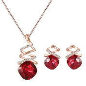 Yonger Elegant Fashion Necklace Jewellery Portfolio Red Crystal Best Gift for Women