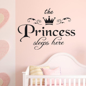 Owill The Princess Sleeps Here Bedroom Vinyl Carving Removable Wall Sticker