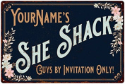 YourName's SHE SHACK Vintage Look Sign 8x12 Victorian Metal Wall Décor 8128569