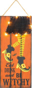Lighted Wooden Witch Leg with Yarn Skirt Hanging Halloween Sign Wall Decoration