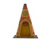Eurasia Handmade Handpainted Wooden Trtingular Home Temple (Without Light), Wooden Temple For Home & Office