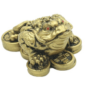 Feng Shui Money Frog Coin Toad Gold Toad Sculptures and Statues Retro Home DeBcor Attract Wealth Gift (Gold) BS103